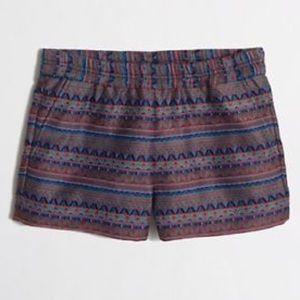 J Crew Aztec Print Slip on Shorts
